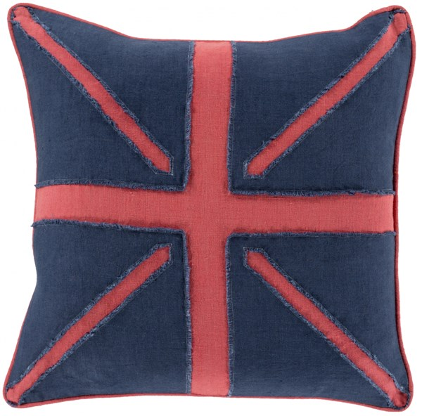 Linen Flag Hot Pink Navy Poly Linen Throw Pillow ( L 22 X W 22 X H 5 ) LF002-2222P