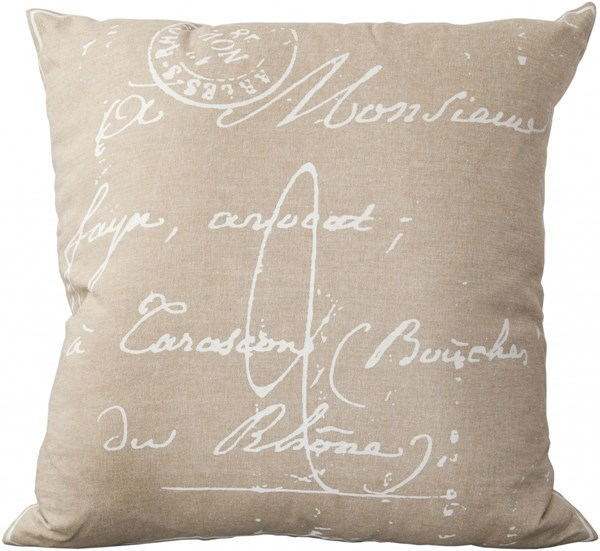 Montpellier Ivory Gray Poly Cotton Throw Pillow (L 18 X W 18) LG511-1818P