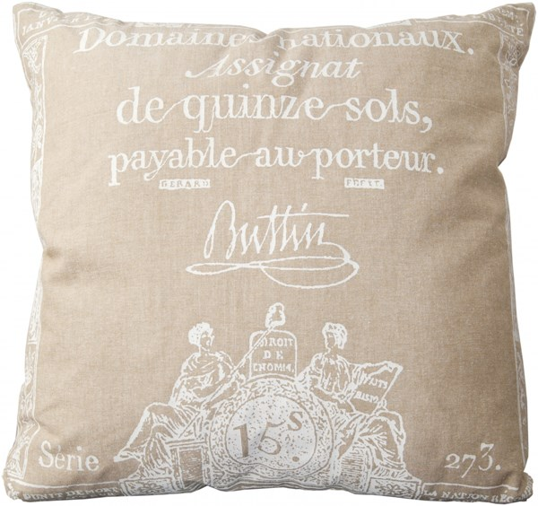 Montpellier Gray Ivory Cotton Throw Pillow (L 22 X W 22 X H 5) LG519-2222P