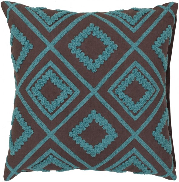 Tribe Taupe Aqua Beige Poly Cotton Wool Throw Pillow - 22x22x5 LG551-2222P