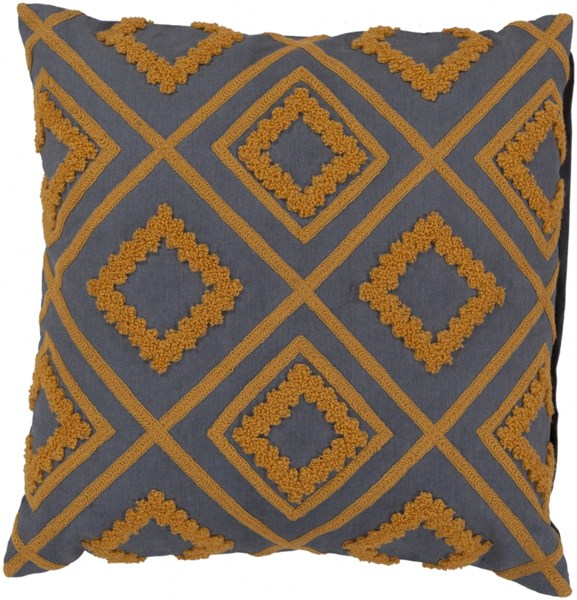 Tribe Gray Burnt Orange Poly Cotton Wool Throw Pillow - 22x22x5 LG558-2222P