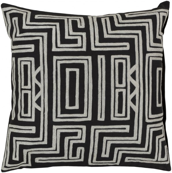 Kuba Black Ivory Fabric Poly Throw Pillow (L 18 X W 18 X H 4) LG560-1818P