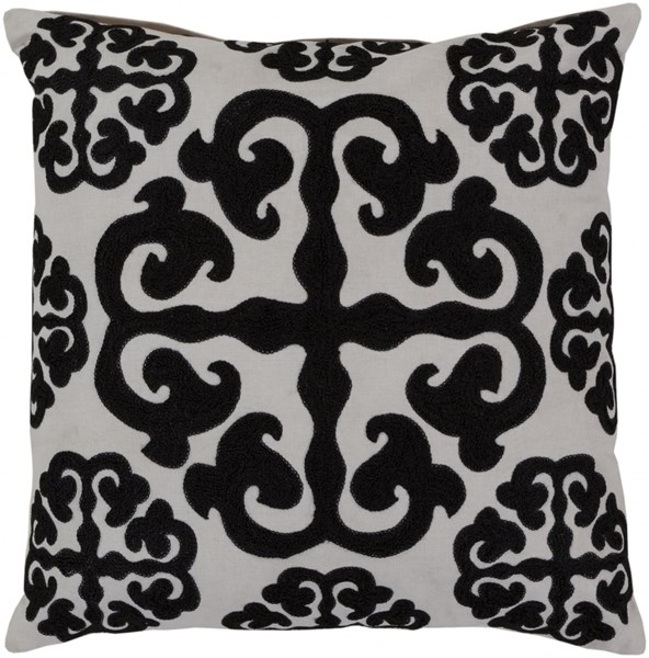 Madrid Ivory Black Cotton Wool Throw Pillow (L 18 X W 18 X H 4) LG576-1818P