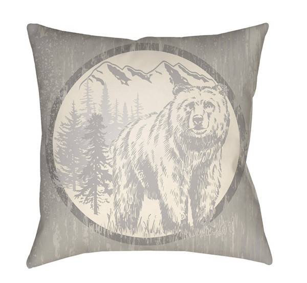 Surya Lodge Cabin Light Gray Polyester Pillow Cover - 18x18 LGCB2014-1818