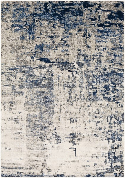 Surya Lagom Navy Pale Blue Charcoal Polyester Area Rug - 123x94 LGM2304-710103