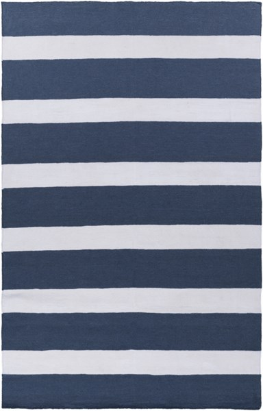 Lagoon Contemporary Navy Ivory PET Yarn Striped Area Rug LGO2032-58