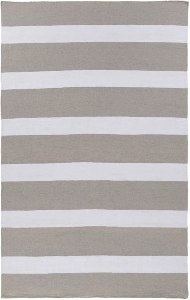 Lagoon Contemporary Gray Ivory PET Yarn Striped Area Rug LGO2037-58