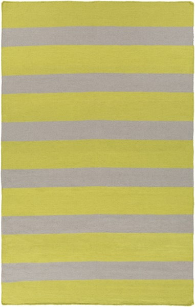 Lagoon Contemporary Lime Light Gray PET Yarn Striped Area Rug LGO2041-58