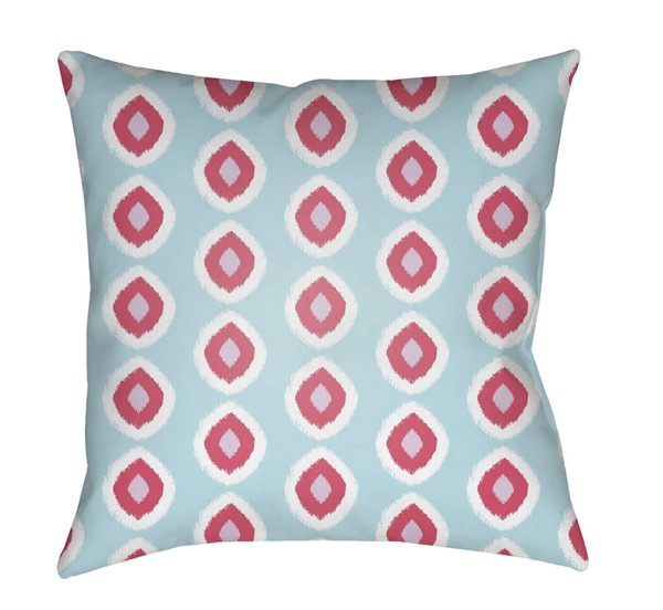 Surya Circles Sky Blue Red Pillow Cover - 18x18 LIL035-1818