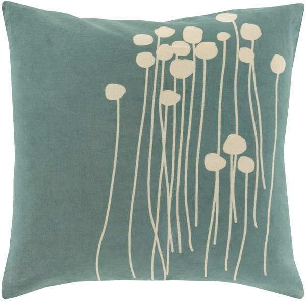 Surya Abo Teal Cream Down Pillow - 22x22 LJA002-2222D