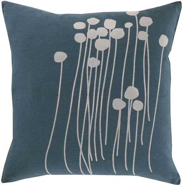Abo Contemporary Teal Gray Down Cotton Throw Pillow (L 18 X W 18) LJA003-1818D