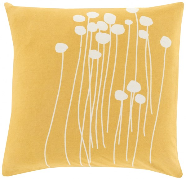 Abo Contemporary Gold Ivory Poly Cotton Throw Pillow (L 22 X W 22) LJA004-2222P