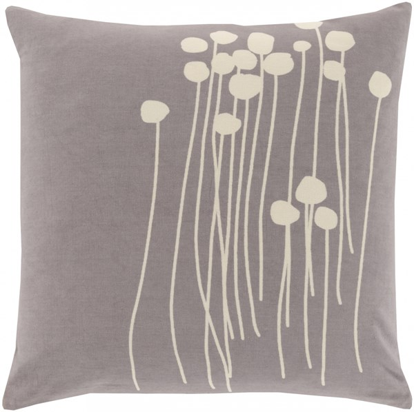 Abo Contemporary Gray Ivory Poly Cotton Throw Pillow (L 22 X W 22) LJA005-2222P