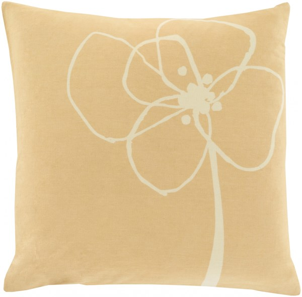 Blomster Butter Beige Down Cotton Throw Pillow - 20x20x5 LJB004-2020D