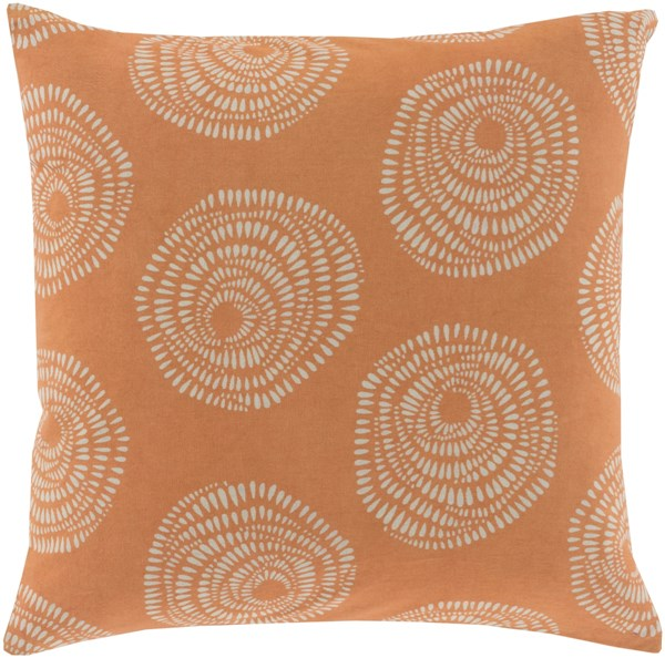 Sylloda Burnt Orange Light Gray Down Cotton Throw Pillow - 22x22x5 LJS003-2222D
