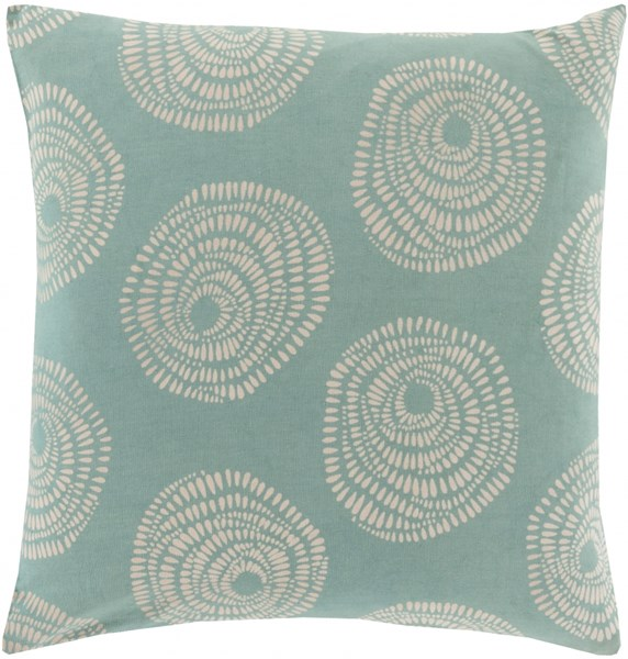 Sylloda Teal Ivory Down Cotton Throw Pillow - 22x22x5 LJS005-2222D