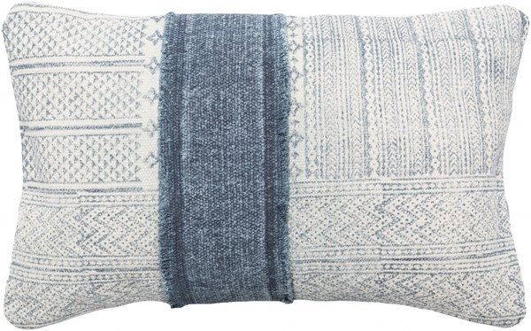 Lola Pillow With Poly Fill In Ivory Slate Navy (L 22 X W 14 X H 4) LL002-2214P