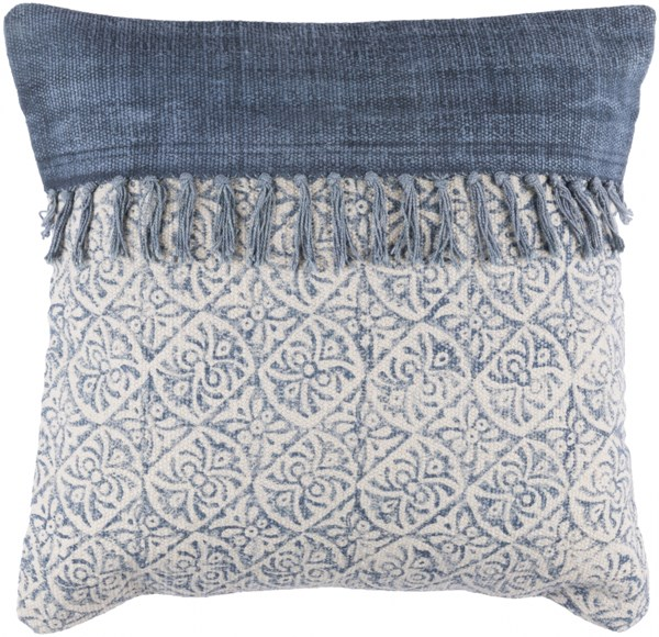 Lola Pillow With Down Fill In Ivory Navy Slate (L 20 X W 20 X H 5) LL005-2020D