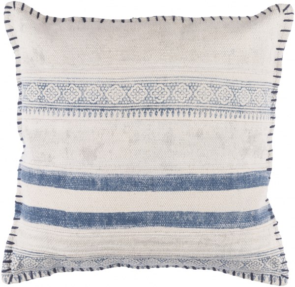 Lola Pillow With Down Fill In Slate Ivory Navy (L 20 X W 20 X H 5) LL006-2020D