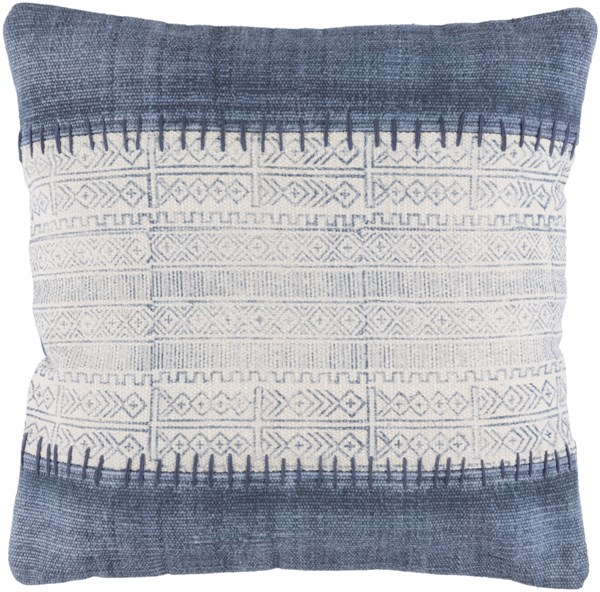 Lola Ivory Navy Slate Cotton Throw Pillow (L 20 X W 20 X H 5) LL007-2020P