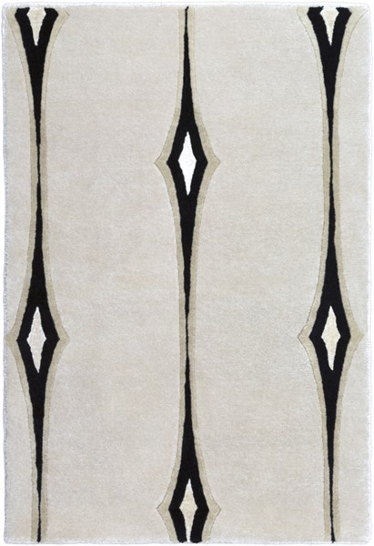 Luminous Modern Beige Black Wool Hand Knot Rugs 1412-VAR1