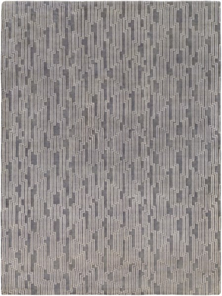 Luminous Modern Gray Ivory Wool Area Rug (L 132 X W 96) LMN3003-811