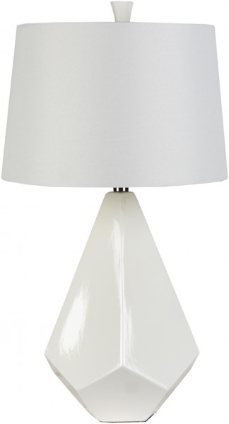Lamp White Ceramic Faux Silk Table Lamp - 16x27 LMP-1016
