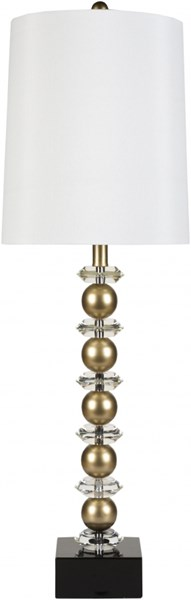 Lamp Goldtone Metal Crystal Faux Silk Table Lamp - 11x35 LMP-1020