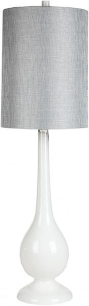 Lamp Contemporary White Glass Metal Faux Linen Table Lamp LMP-1021
