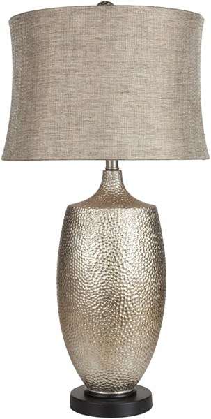 Lamp Contemporary Hammered Silvertone Leaf Resin Linen Table Lamps 13792-VAR1