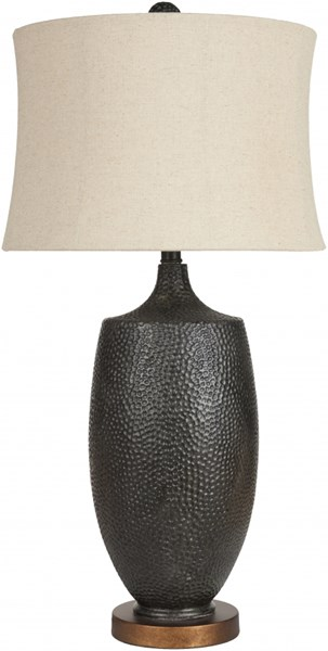 Lamp Aged Black Resin Faux Linen Table Lamp - 15x30 LMP-1025
