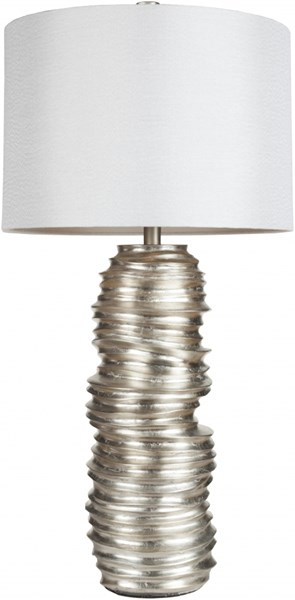 Contemporary Aged Silvertone Fabric Table Lamp (W 16 X H 32) LMP-1030