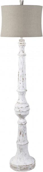Lamp Weathered White Resin Faux Linen Floor Lamp - 17x69 LMP-1035