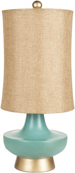 Lamp Aged Turquoise Resin Metallic Linen Table Lamp - 12x27 LMP-1039