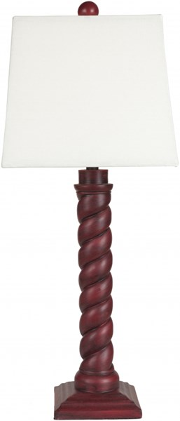 Lamp Contemporary Red Rubbed Resin Faux Linen Table Lamp LMP-1042
