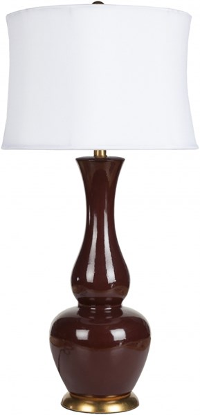 Lamp Contemporary Oxblood Ceramic Faux Silk Table Lamps 13818-VAR1