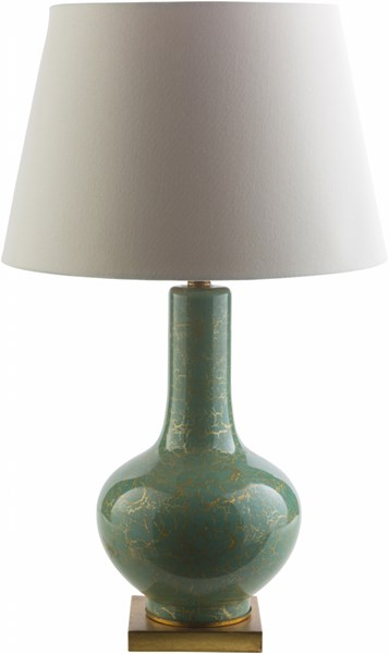 Longo Elegant Spa Blue Gold Glass Fabric Table Lamp LOO764-TBL