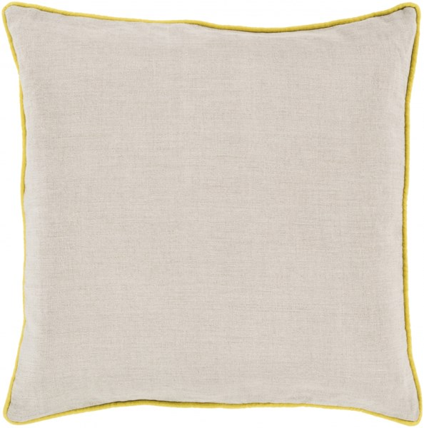 Linen Piped Light Gray Lemon Poly Linen Throw Pillow - 22x22x5 LP003-2222P
