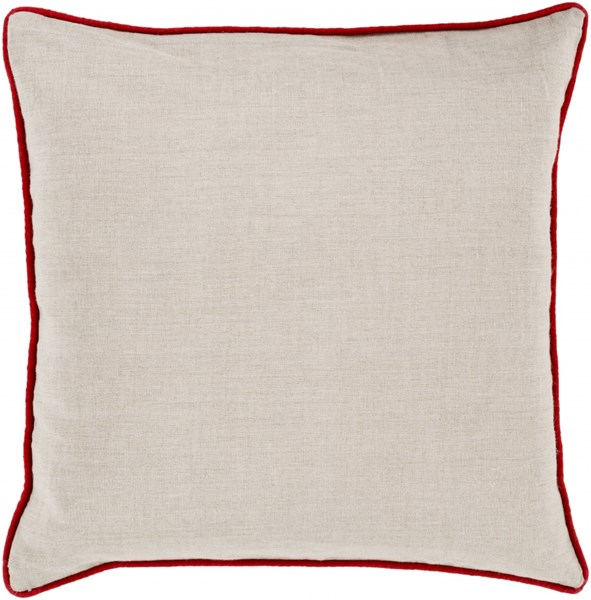 Linen Piped Light Gray Poppy Poly Linen Throw Pillow - 18x18x4 LP004-1818P