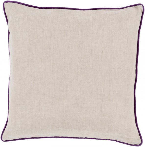 Linen Piped Light Gray Violet Down Linen Throw Pillow - 20x20x5 LP007-2020D