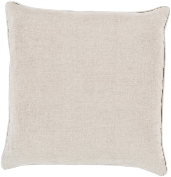 Linen Piped Light Gray Ivory Poly Linen Throw Pillow - 20x20x5 LP008-2020P