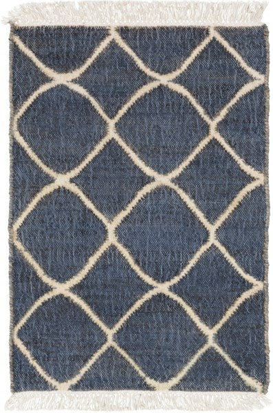 Laural Ivory Navy Fabric Area Rug ( L 36 X W 24 ) LRL6003-23