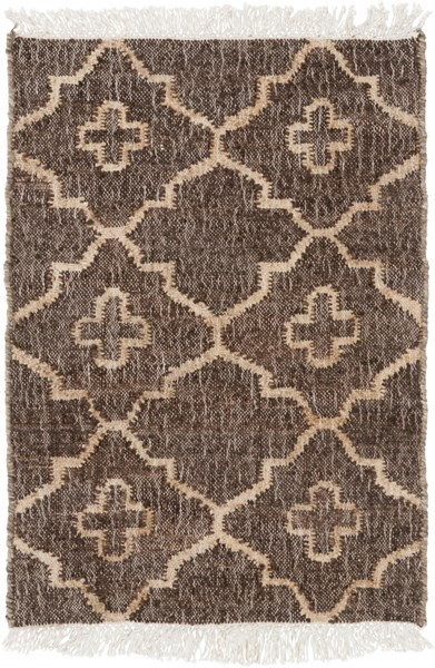Laural Contemporary Ivory Beige Chocolate Jute Area Rugs 12912-VAR1