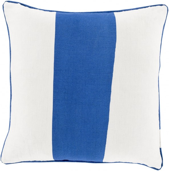 Linen Stripe Cobalt Ivory Poly Linen Throw Pillow (L 18 X W 18 X H 4) LS001-1818P