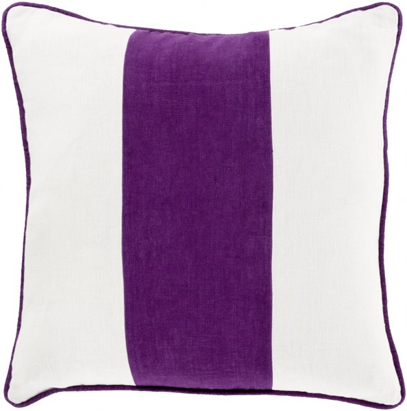 Linen Stripe Violet Ivory Down Linen Throw Pillow (L 20 X W 20 X H 5) LS002-2020D