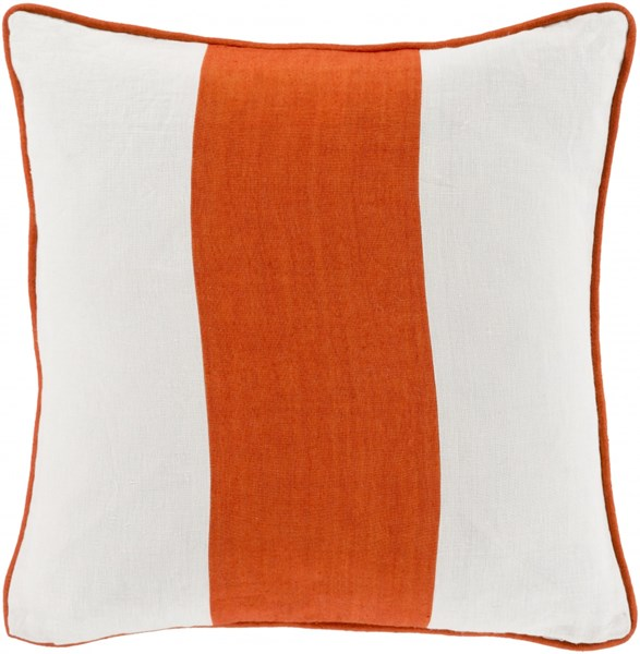 Linen Stripe Rust Ivory Down Linen Throw Pillow ( L 22 X W 22 X H 5 ) LS003-2222D