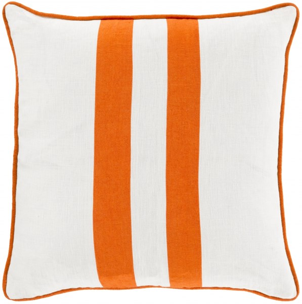Linen Stripe Ivory Rust Linen Throw Pillow (L 18 X W 18X H 4) LS004-1818D