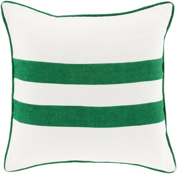 Linen Stripe Green Ivory Down Linen Throw Pillow (L 20 X W 20 X H 5) LS006-2020D