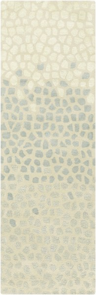 Lighthouse Coastal Beige Sea Foam Gray Wool Runner ( L 96 X W 30 ) LTH7018-268