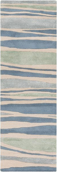 Lighthouse Coastal Beige Teal Moss Wool Runners & Area Rugs 728-VAR1